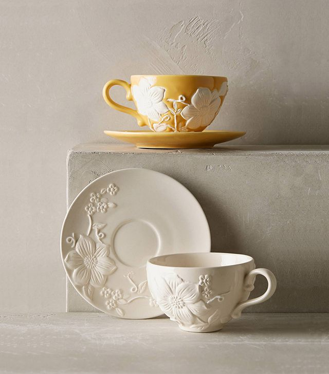 Anthropologie Petal Vines Cup & Saucer