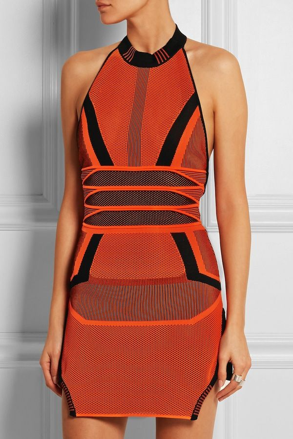 Alexander Wang Mesh-Paneled Knitted Cotton-Blend Mini Dress