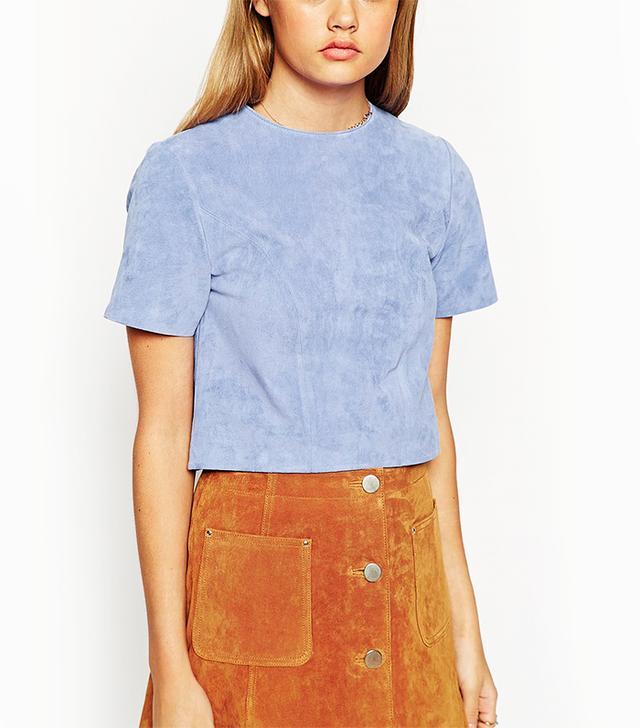 ASOS Premium Light Blue Suede T Shirt