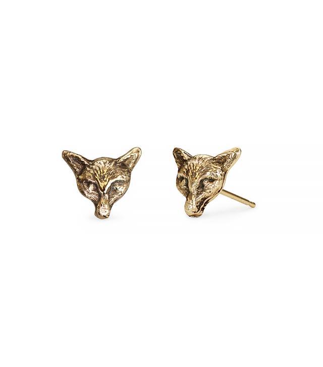 Pyrrha 14-Karat Gold Fox Earrings