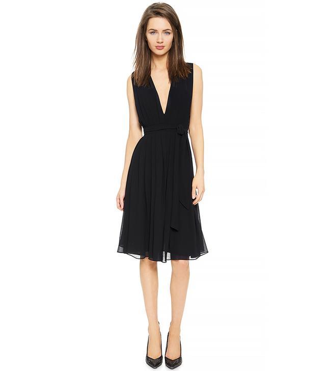 L'Agence Deep V Pleated Dress