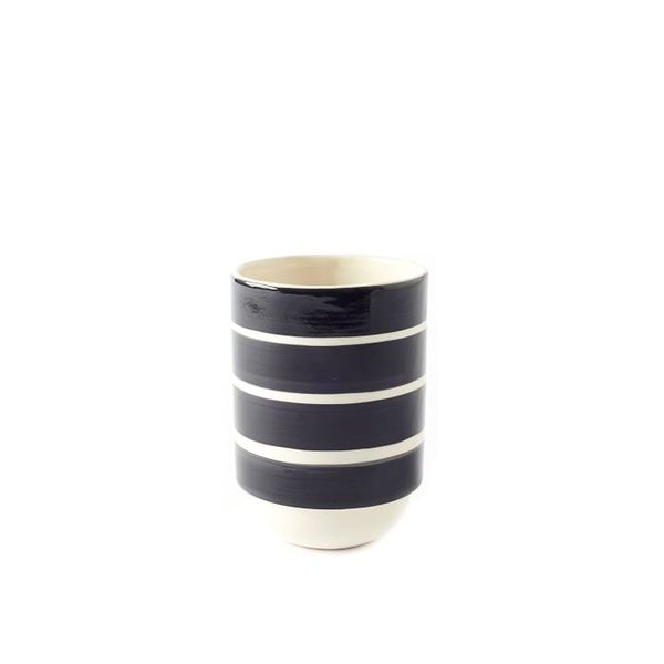 West Elm Wide Stripe Hand Stamped Vase
