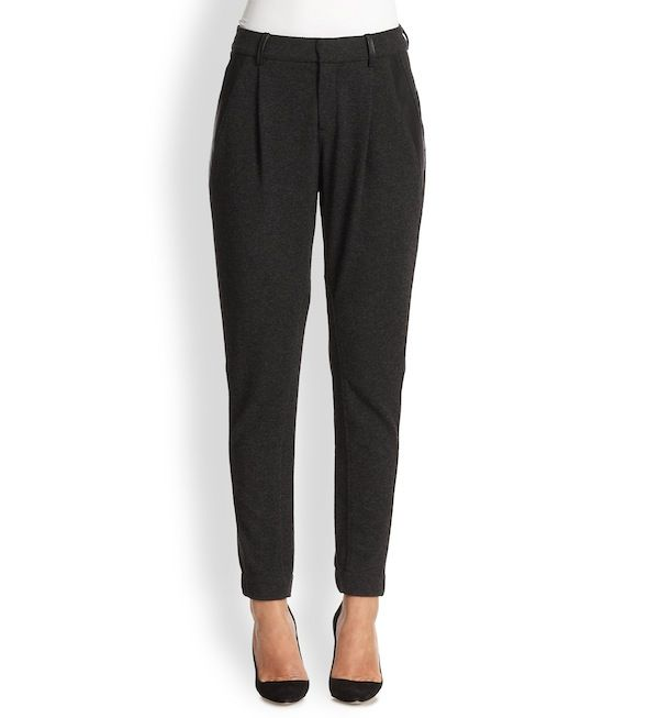 Vince Leather-Trimmed Relaxed Trouser
