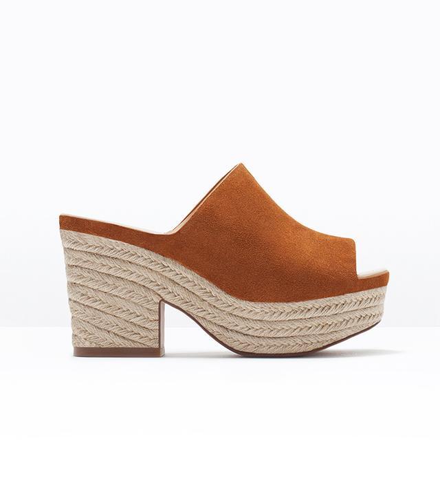 Zara Leather Wedge Espadrilles