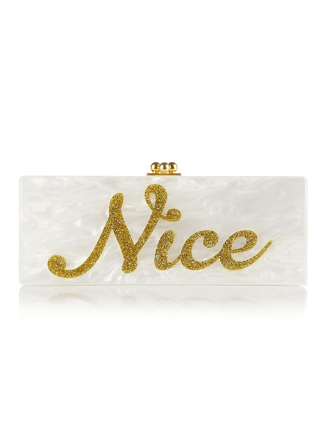 Edie Parker Flavia Naughty/Nice Glittered Acrylic Box Clutch