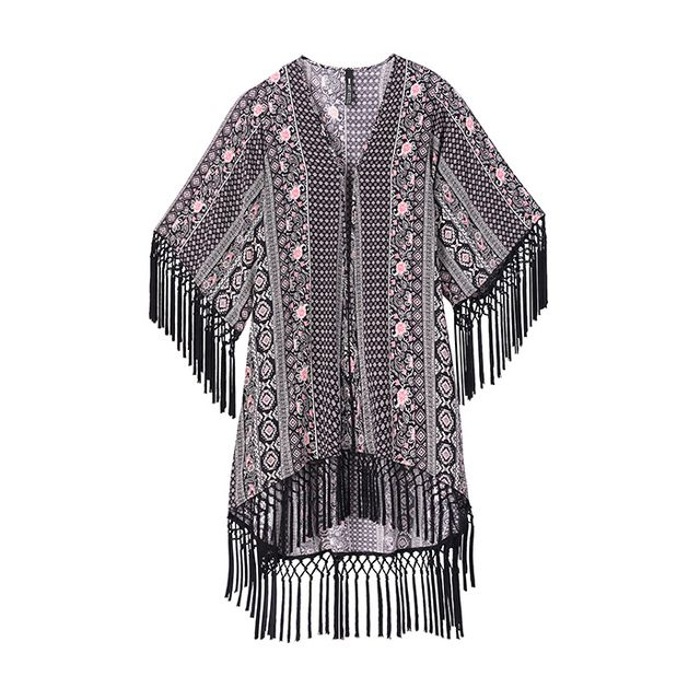 Design Lab Fringe Kimono