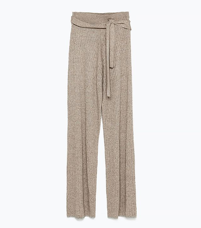 Zara Belted Ribbed Trousers
