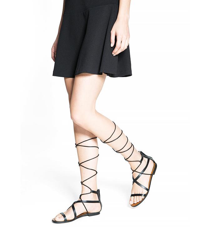 Mango Strap Cord Sandals in Black