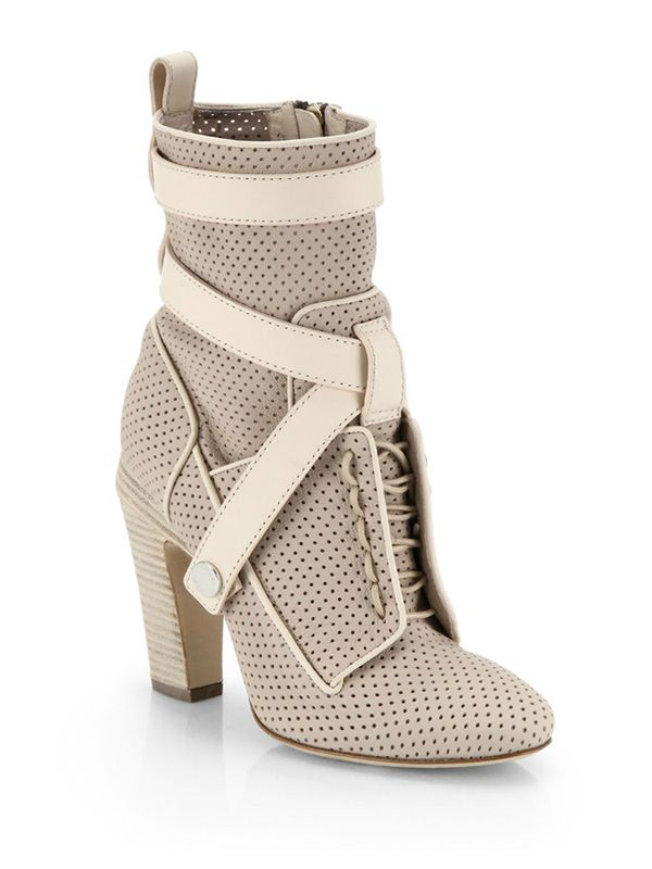 Fendi Perforated Lace-Up Leather Ankle Boots
