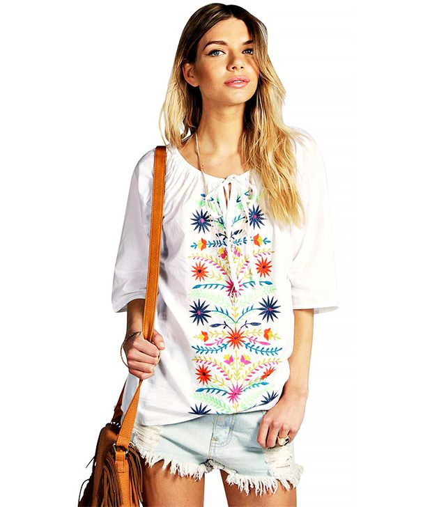 Boohoo Julia Bright Heavily Embroidered Woven Top