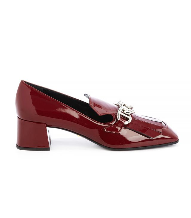 Prada Bordeaux Patent Leather Tassel and Chain Detail Heel Loafers