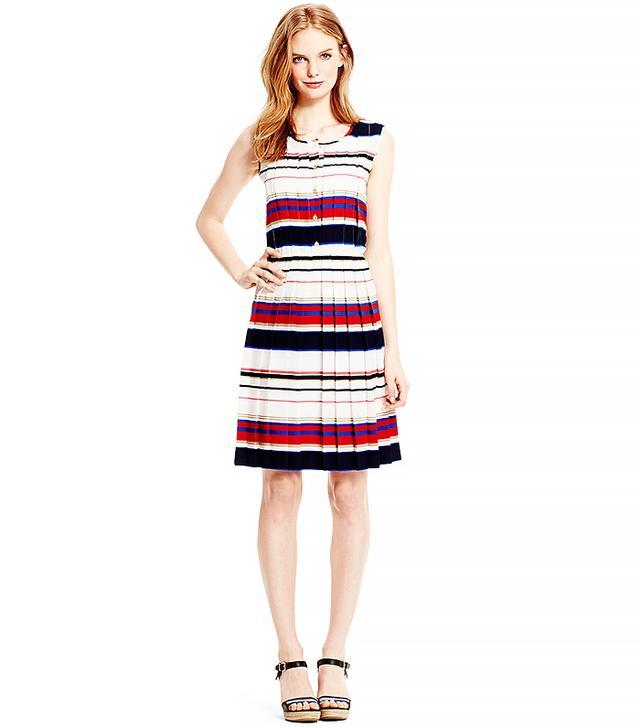 Tommy Hilfiger Multi Stripe Pleated Dress