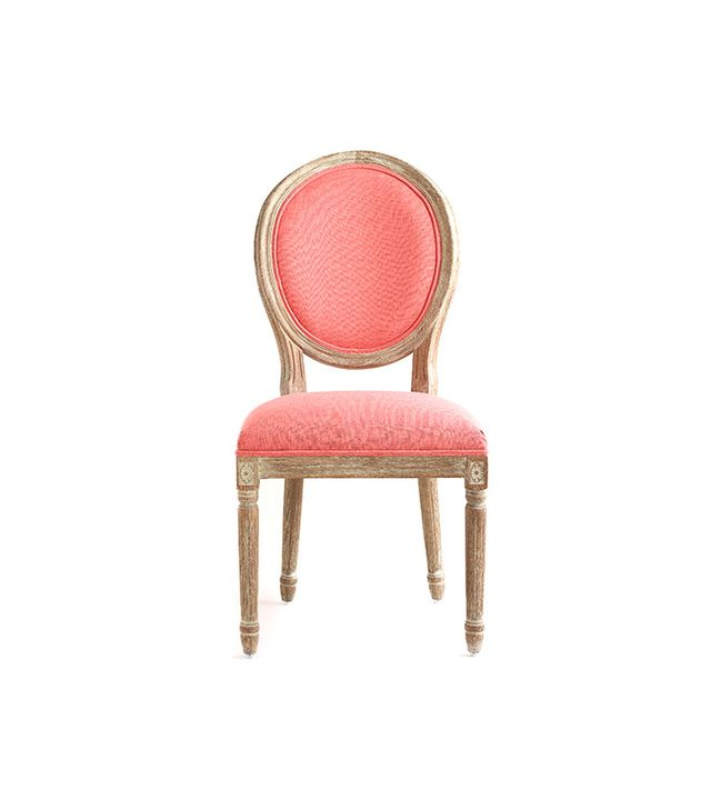 World Market Coral Linen Paige Round Back Dining Chairs