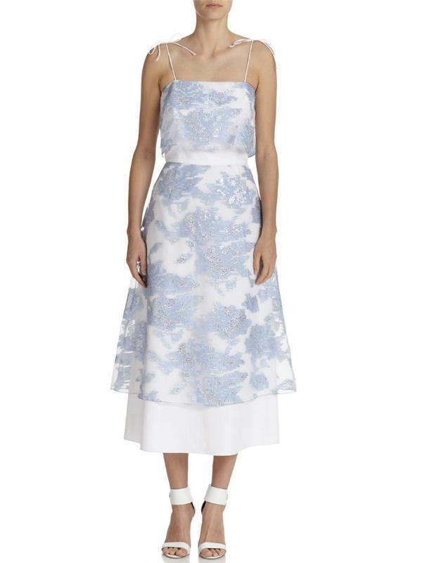 Suno Printed Sheer-Overlay Dress