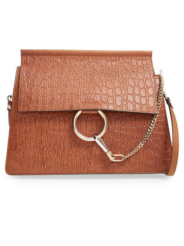 Chloé Faye Croc Embossed Leather Shoulder Bag