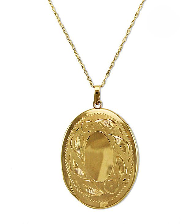 Lord & Taylor 14 Kt Gold Engraved Oval Locket Necklace