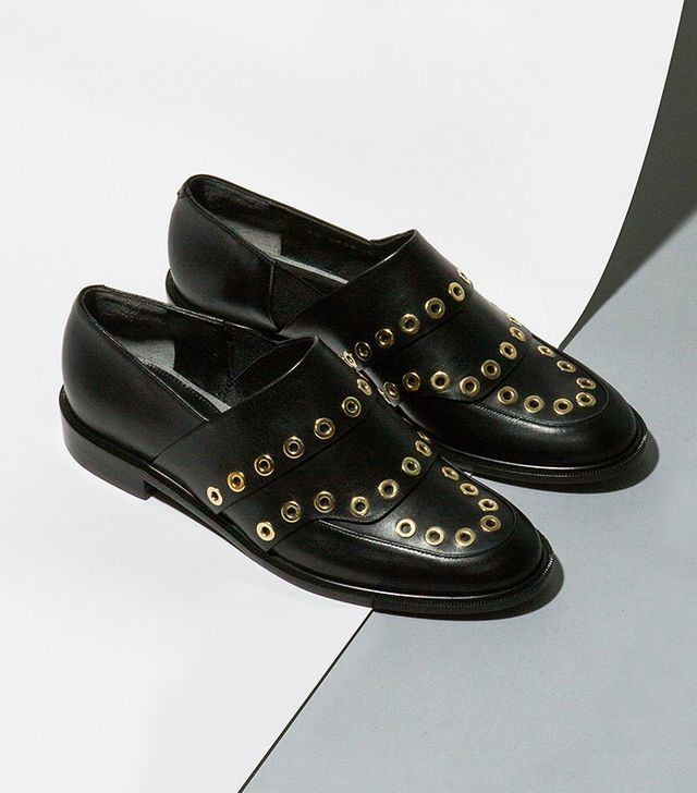 Robert Clergerie Jordak Gold Detail Leather Slip-Ons
