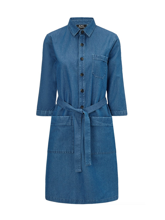 A.P.C. Blue Denim Belted Nancy Dress