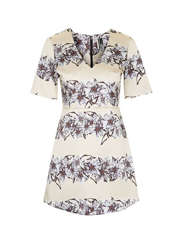 Topshop Flower Satin A-Line Dress