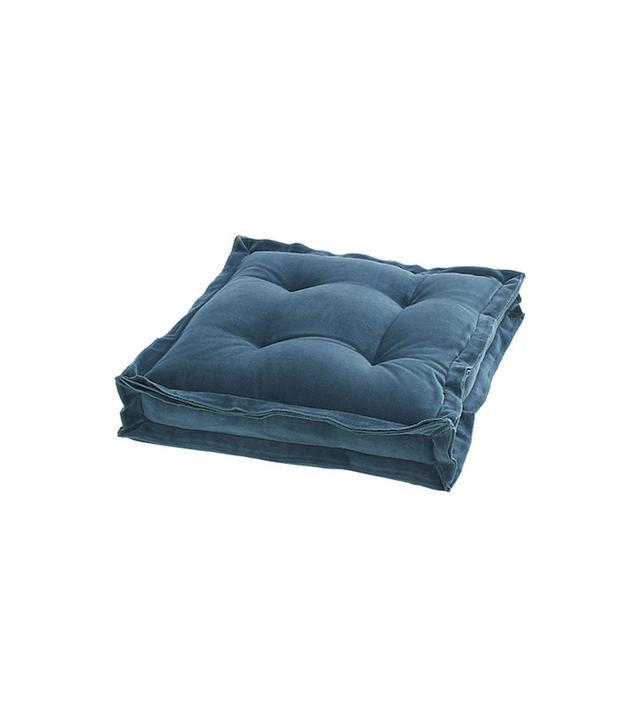 CB2 Velvet Blue Green Floor Cushion
