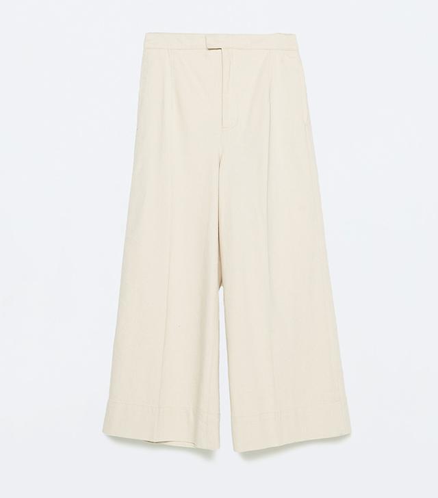 Zara Wide-Leg Cropped Trousers