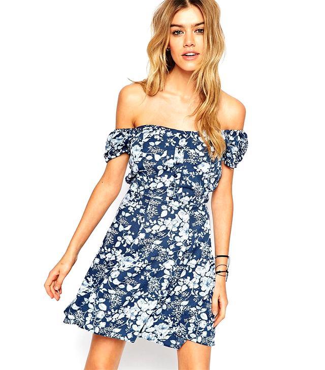 ASOS Reclaimed Vintage Off Shoulder Dress In Floral Print
