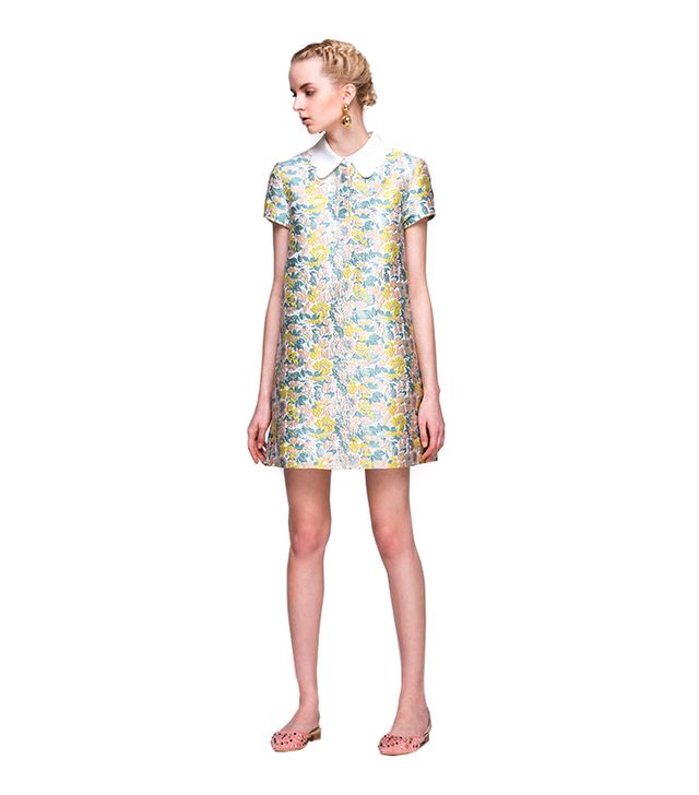 Front Row Shop A-line Dress in Floral Jacquard