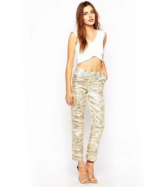 Lavish Alice Metallic Print Tailored Skinny Cigarette Pants