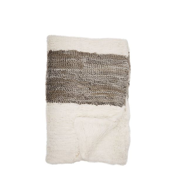 Adrienne Landau Stripe Fur Throw