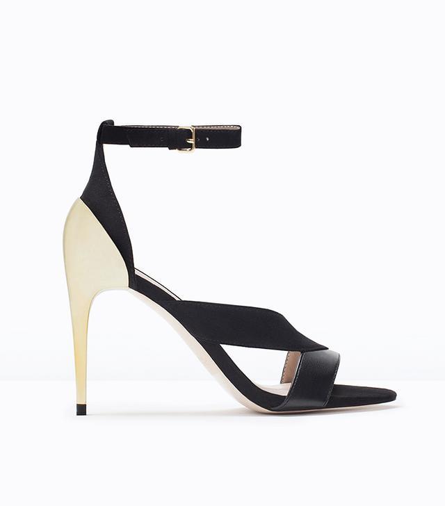 Zara Crossover Sandals with Metallic Heel