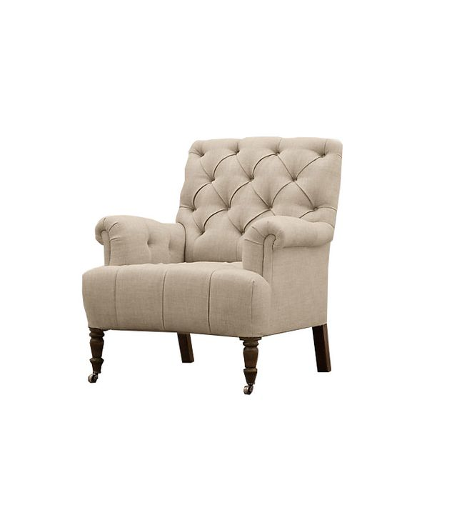Restoration Hardware 19th C. Tufted Roll Arm Upholstered Chair
