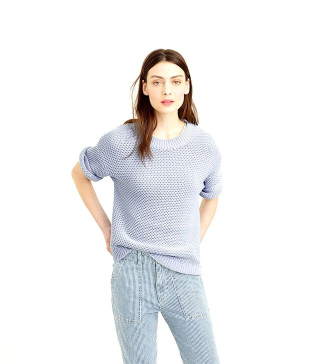 J. Crew Short-Sleeve Open-Stich Sweater