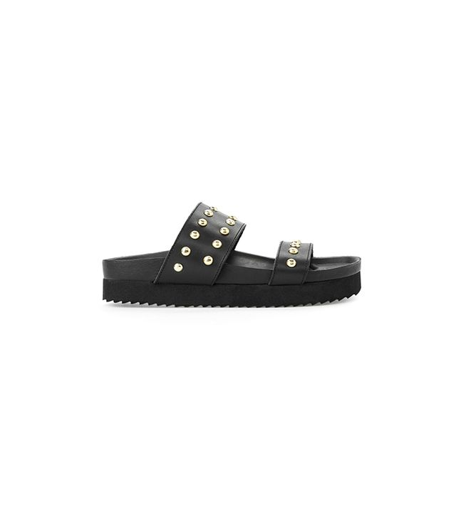 Mango Studded Leather Sandals