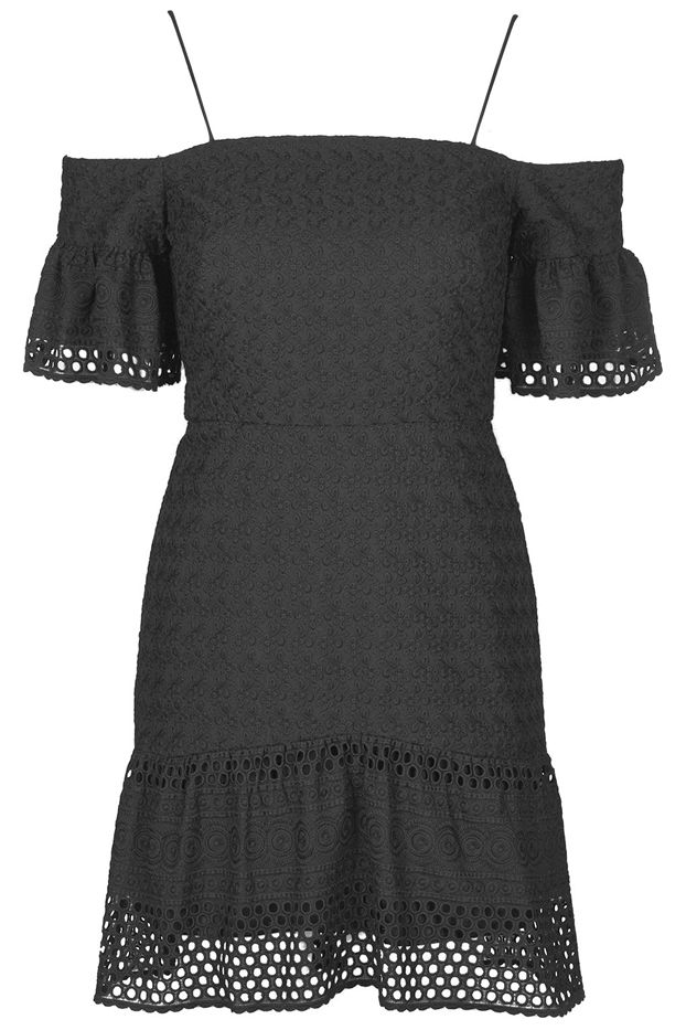 Topshop Cold Shoulder Broderie Dress