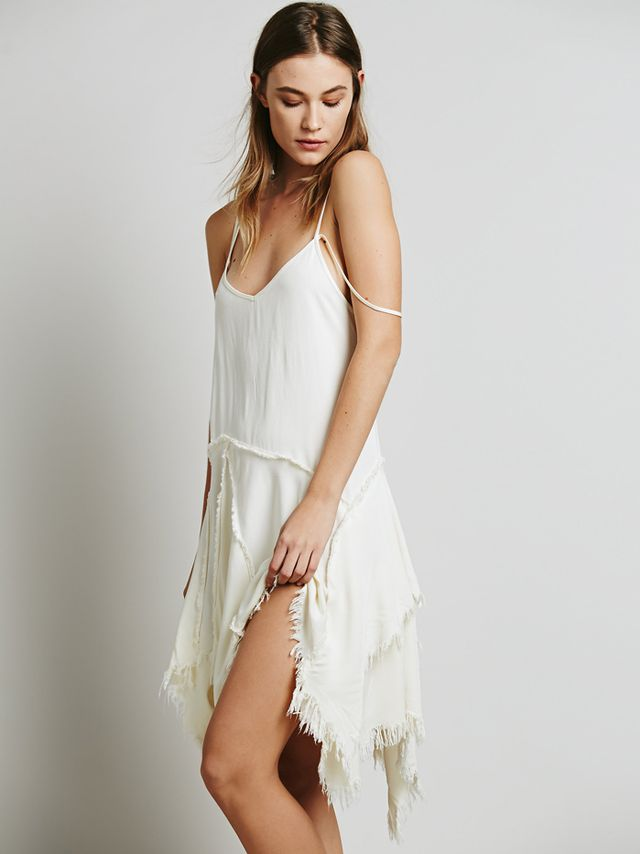 Free People Tattered Up Shred Slip Dress