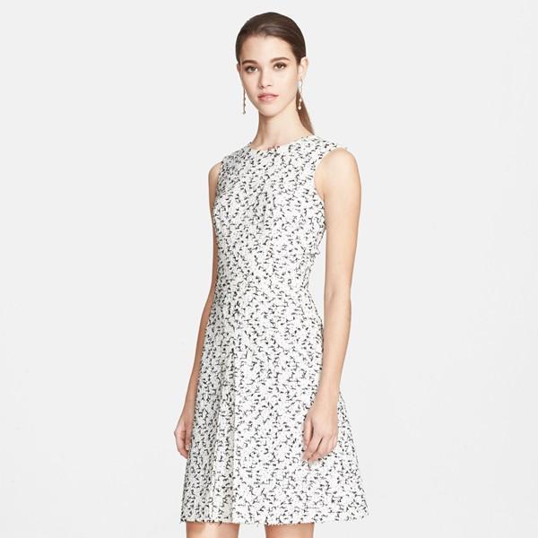 Oscar de la Renta Eyelash Tweed Dress