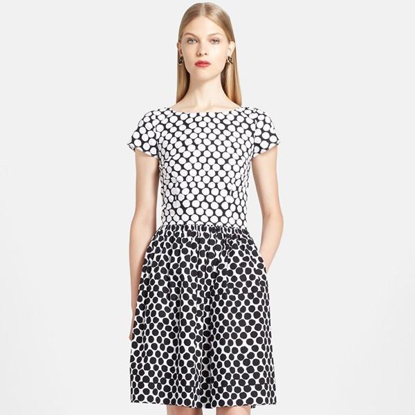 Oscar de la Renta Polka Dot Stretch Cotton Fit & Flare Dress