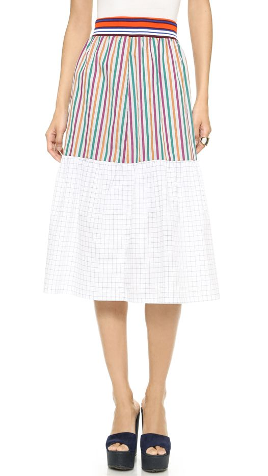 Clover Canyon Cotton Solids Striped Skirt