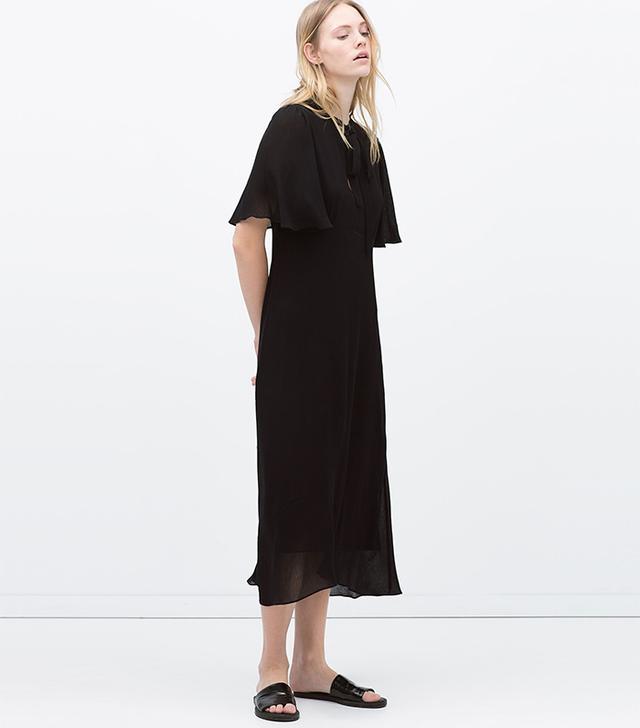 Zara Cape Sleeve Tie-Neck Dress