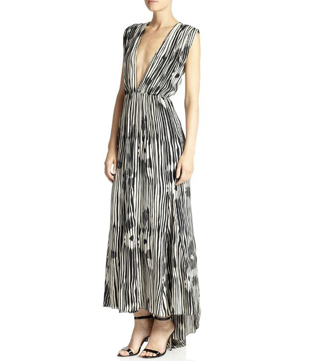 Alice & Olivia Lexa Printed Silk Deep V-Neck Maxi Dress