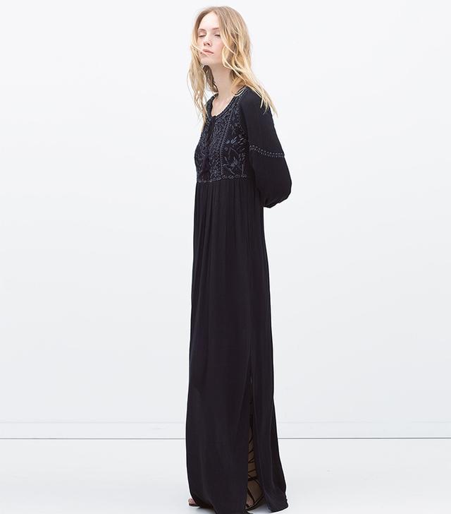 Zara Embroidered Long Dress