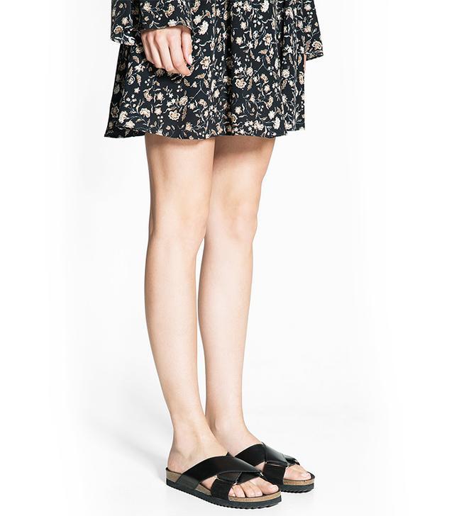 Mango Criss-Cross Leather Sandals