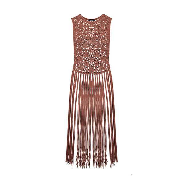 Missguided Crochet Knitted Fringe Vest