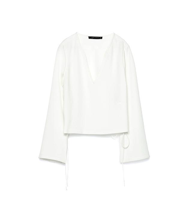 Zara Lace-Up Blouse