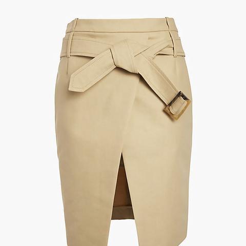 Barbara Bui Belted Asymmetric Mini Wrap Skirt in Khaki