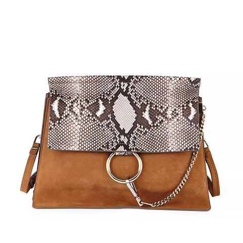 Faye Python Flap Shoulder Bag in Beige