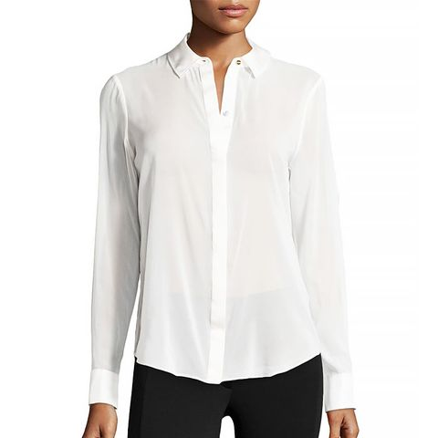Sheer Chiffon Blouse With Silk Trim in Winter White