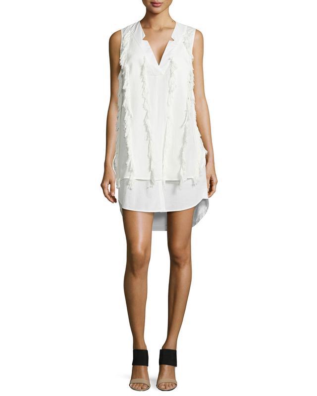 Derek Lam 10 Crosby V-Neck Poplin Shirtdress with Fringe