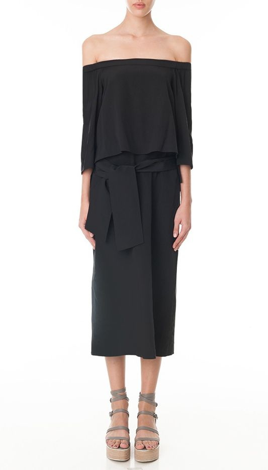Tibi Heavy Silk-Off-the-Shoulder Midi Dress
