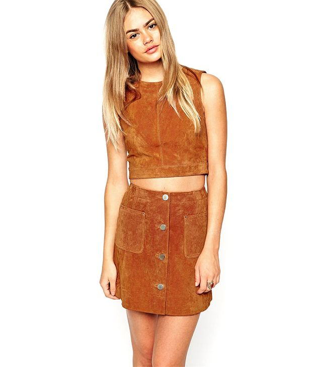 ASOS Suede Shell Top With D-ring Detail and Open Back